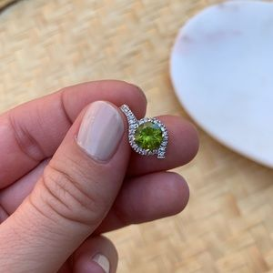 Peridot Diamond Necklace Pendant 14k Yellow Gold
